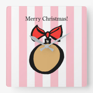 Merry Christmas Gold Ornament Square Wall Clock 2