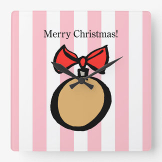 Merry Christmas Gold Ornament Square Wall Clock PK