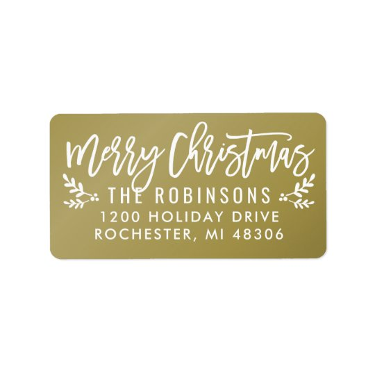 Merry Christmas | Gold Script Address Labels