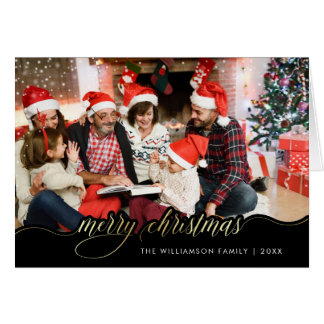 Merry Christmas Gold Script Holiday Greeting Photo Card