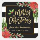 Merry Christmas Gold Script Lettering Floral Decor Square Sticker