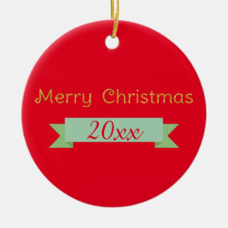 Merry Christmas Gold Sparkle with Year Ribbon Christmas Ornament