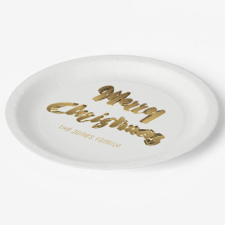 Merry Christmas Gold White Handwriting Typography Paper Plate