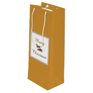 Merry Christmas Gold Wine Gift Bag by Janz