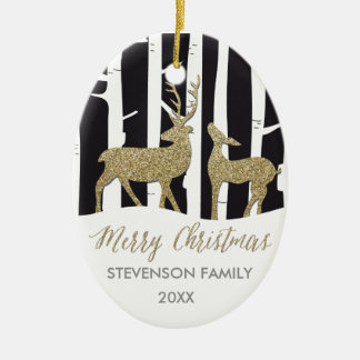Merry Christmas golden deers photo ornament
