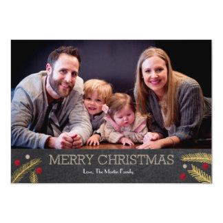 Merry Christmas Golden Pines 13 Cm X 18 Cm Invitation Card