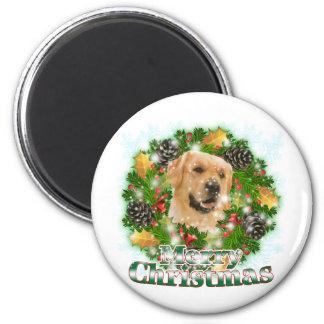 Merry Christmas Golden Retriever Magnet