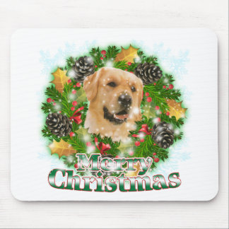 Merry Christmas Golden Retriever Mouse Mat