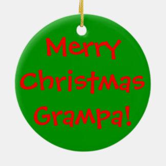 Merry Christmas Grampa green ornament