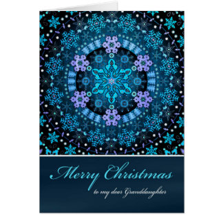 Merry Christmas Granddaughte, Blue Boho Snowflakes Card