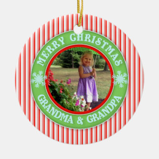 Merry Christmas Grandma and Grandpa Dated Photo Christmas Ornament