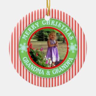 Merry Christmas Grandma and Grandpa Dated Photo Round Ceramic Decoration