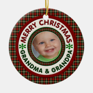 Merry Christmas Grandma and Grandpa Holiday Photo Christmas Ornament