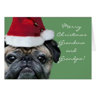 Merry Christmas Grandma  and Grandpa Pug  card