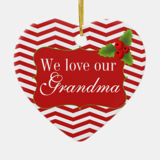 Merry Christmas Grandma Chevron Photo Ceramic Heart Decoration
