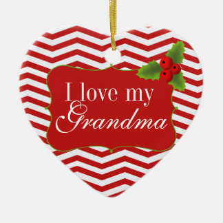 Merry Christmas Grandma Chevron Photo Christmas Ornament