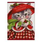 Merry Christmas Grandma Vintage Kitty Card