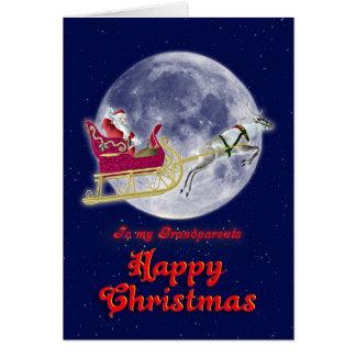 Merry Christmas grandparents, santa in his sleigh Greeting Card