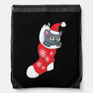Merry Christmas Gray Kitten Cat Red Stocking Grey Rucksacks
