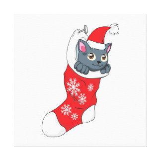Merry Christmas Gray Kitten Cat Red Stocking Grey Gallery Wrapped Canvas