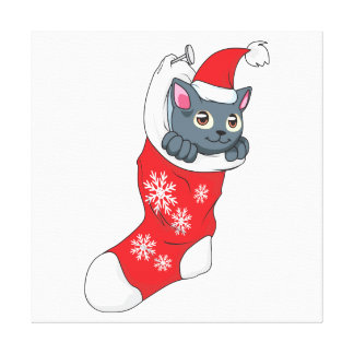 Merry Christmas Gray Kitten Cat Red Stocking Grey Canvas Prints