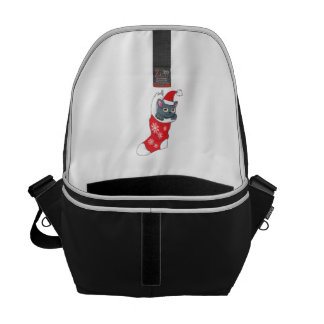 Merry Christmas Gray Kitten Cat Red Stocking Grey Courier Bags