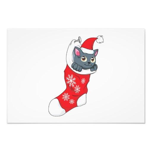 Merry Christmas Gray Kitten Cat Red Stocking Grey Art Photo