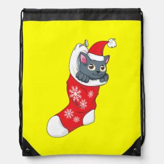 Merry Christmas Gray Kitten Cat Red Stocking Grey Backpacks