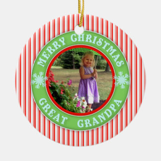 Merry Christmas Great Grandpa Dated Photo Christmas Ornament