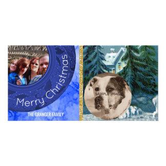 Merry Christmas Green Blue Vintage Snow Scene Customised Photo Card