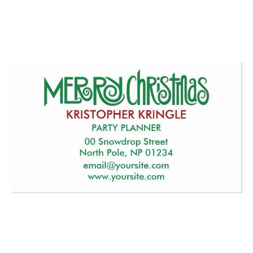 Merry Christmas green Business Card