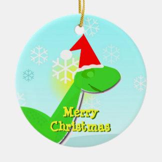 Merry Christmas Green Cartoon Dinosaur Ornament