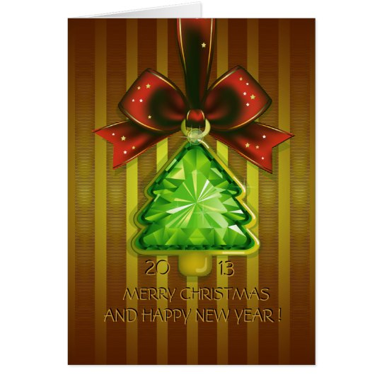 Merry Christmas Green Diamond Tree Greeting Card