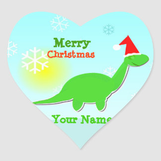 Merry Christmas Green Dinosaur Heart Name Stickers