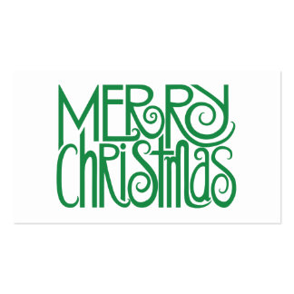 Merry Christmas Green Gift Tag Business Card Templates
