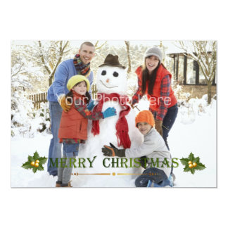 Merry Christmas Green Holiday Photo Card 13 Cm X 18 Cm Invitation Card