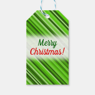 """""""Merry Christmas!"""" + Green Lines/Stripes Pattern Gift Tags"""