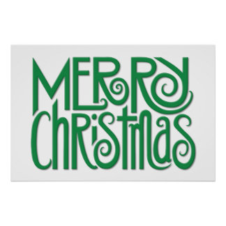 Merry Christmas green Poster