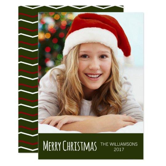 Merry Christmas Green Red White Chevron Photo Card