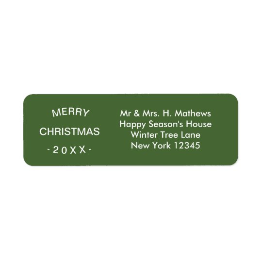 Merry Christmas | Green Return Address Label