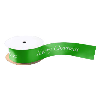 Merry Christmas Green Ribbon Satin Ribbon