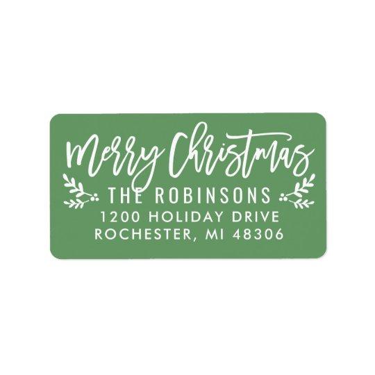 Merry Christmas   Green Script Address Labels