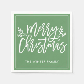Merry Christmas | Green Script Holiday Disposable Napkins