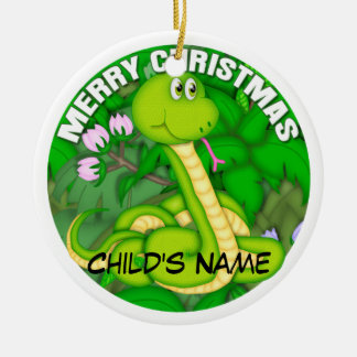 Merry Christmas Green Snake Christmas Ornament