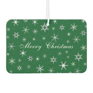 Merry Christmas Green Snowflakes Car Air Freshener