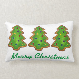 Merry Christmas Green Sugar Cookie Tree Pillow
