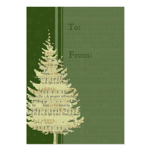 Merry Christmas Green Tree Gift Tags Business Card