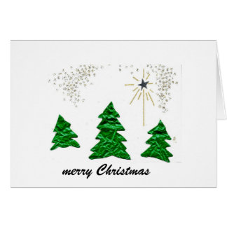 merry Christmas, green trees Greeting Card