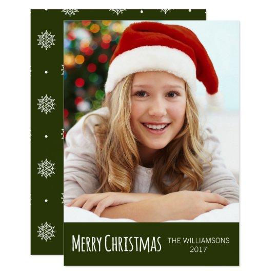 Merry Christmas Green White Snowflakes Photo Card