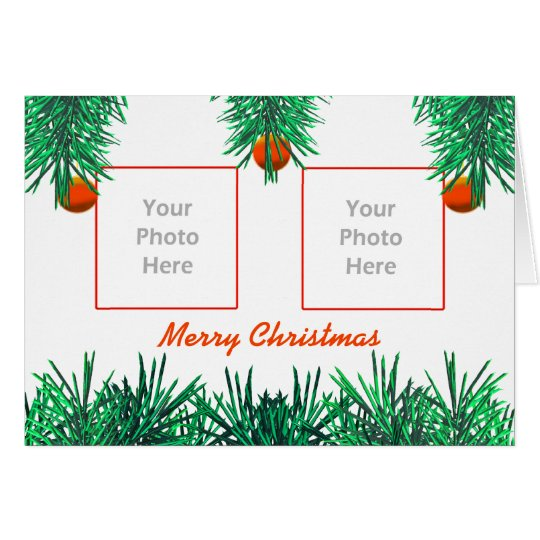 Merry Christmas Greens on White (photo frame) Card